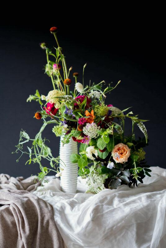 Blooming Haus, A guide to wedding flower arrangements, asymmetrial wedding centrepiece
