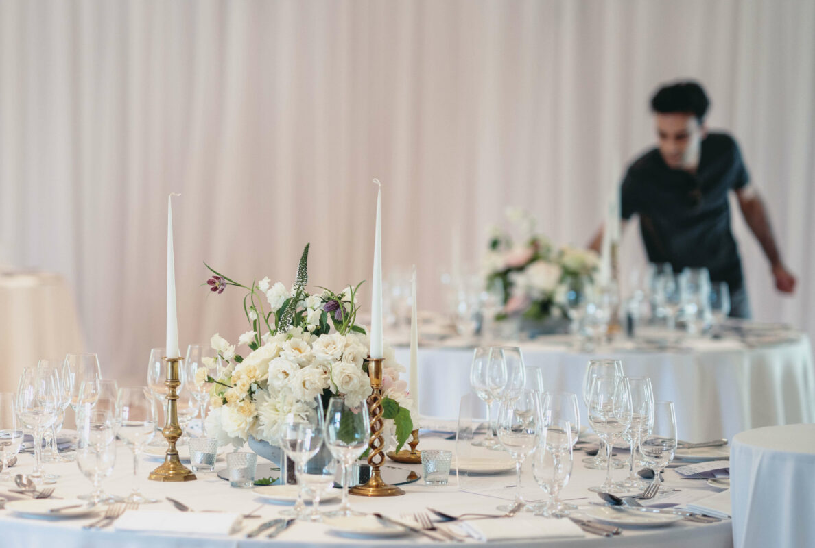 Blooming Haus, white low table flower arrangements for a wedding