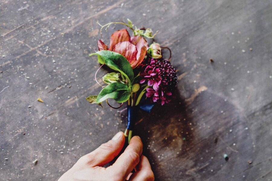 Purple Scabiosa and Helleborus Buttonhole Tied with a Blue Ribbon