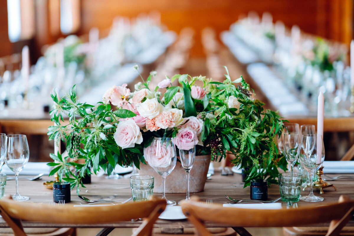 town hall hotel wedding flower centrepieces by blooming haus