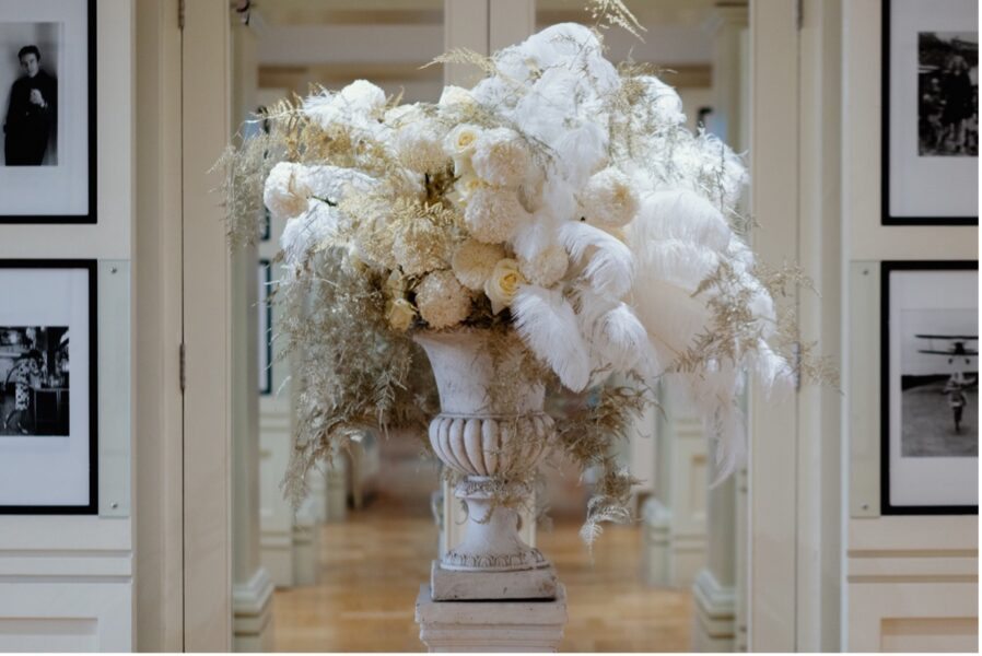 Vogue House Arrangement, chrysanthemums and ostrich feathers