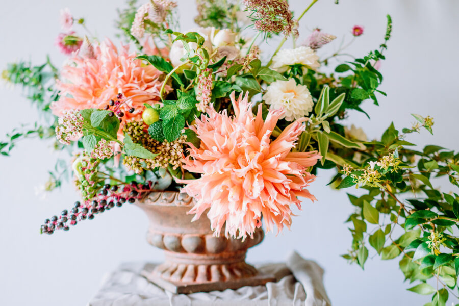 Wedding Centrepieces with autumn flowers, chrysanthemums. roses and dahlias