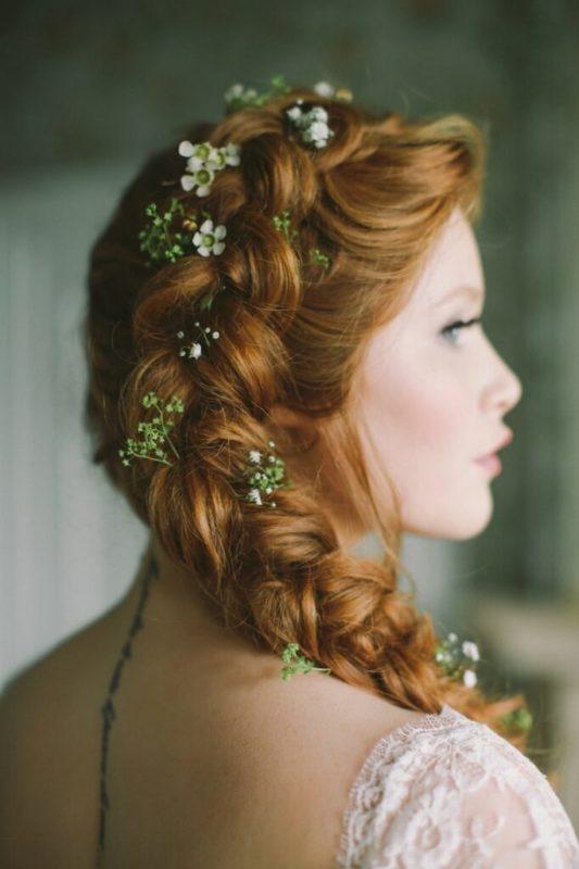 30 stunning ways to wear wedding hair flowers delicately decorated braids min 682x1024 1