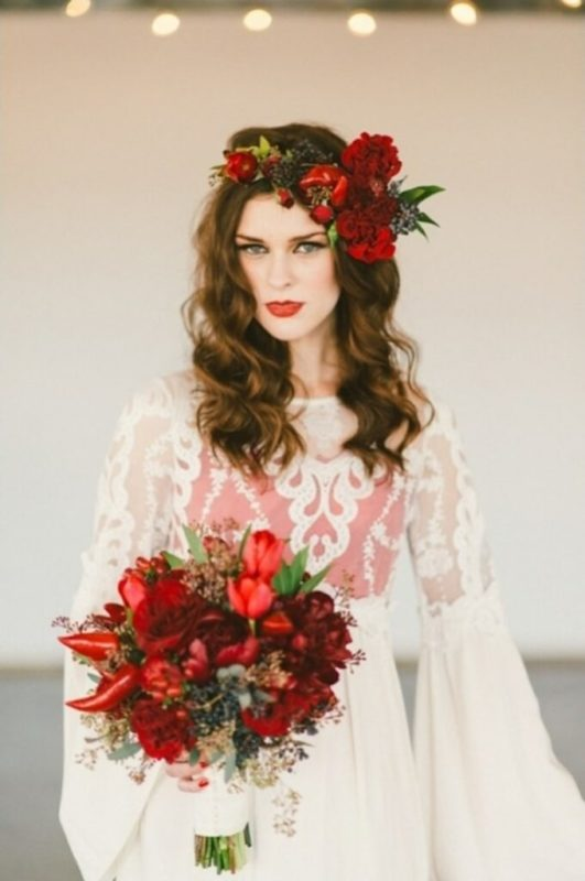 30 stunning ways to wear wedding hair flowers dramatic and sensual red min 680x1024 1