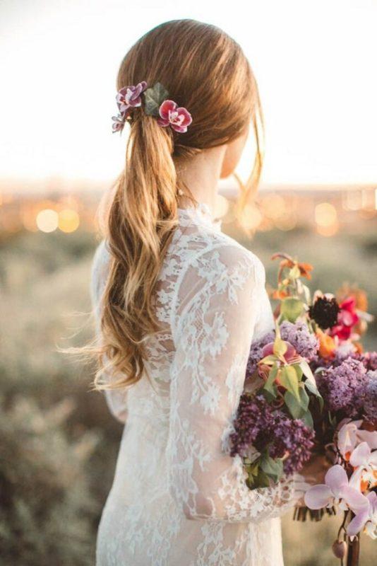 30 stunning ways to wear wedding hair flowers ponytail pastels min 683x1024 1