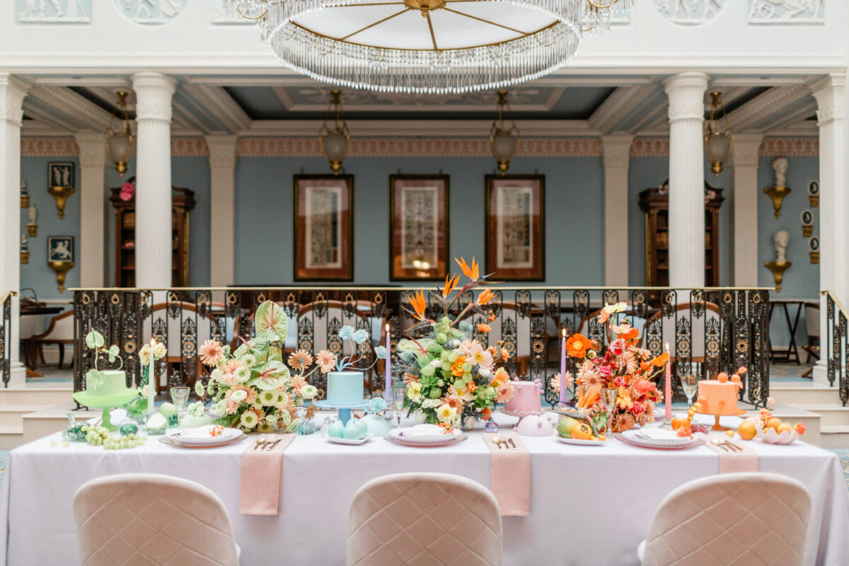 Colourful Wedding Table Centrepieces at Lanesborough Hotel in London