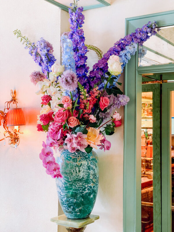 Contract Flowers Restaurant, bright and colourful large vase of flowers