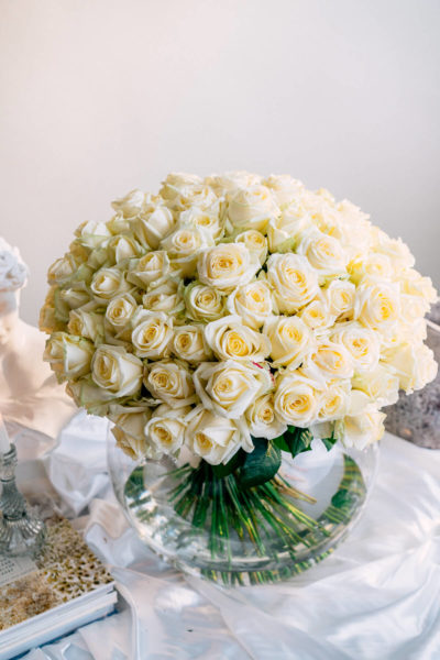 Extra large white roses bouquet