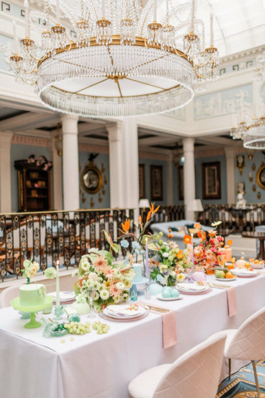 floral design in retail hospitality colourful flowers at lanesborough hotel in london