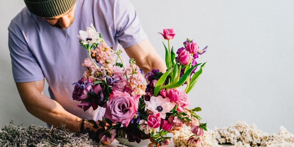 floral design in retail hospitality purple flower arrangement