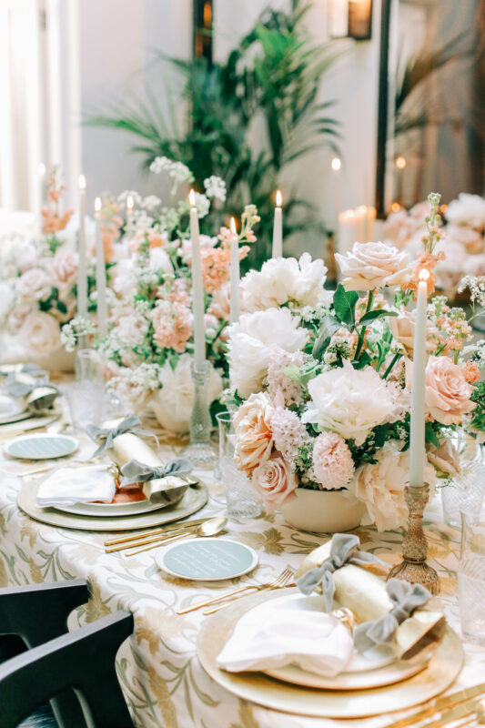 Florist for Weddings, gold and green table arrangements with peach and white flowers including roses and peonies
