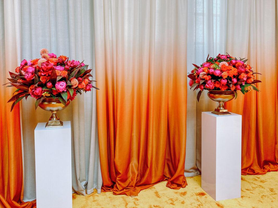 London Contract Florist, pink and orange large floral arrangements