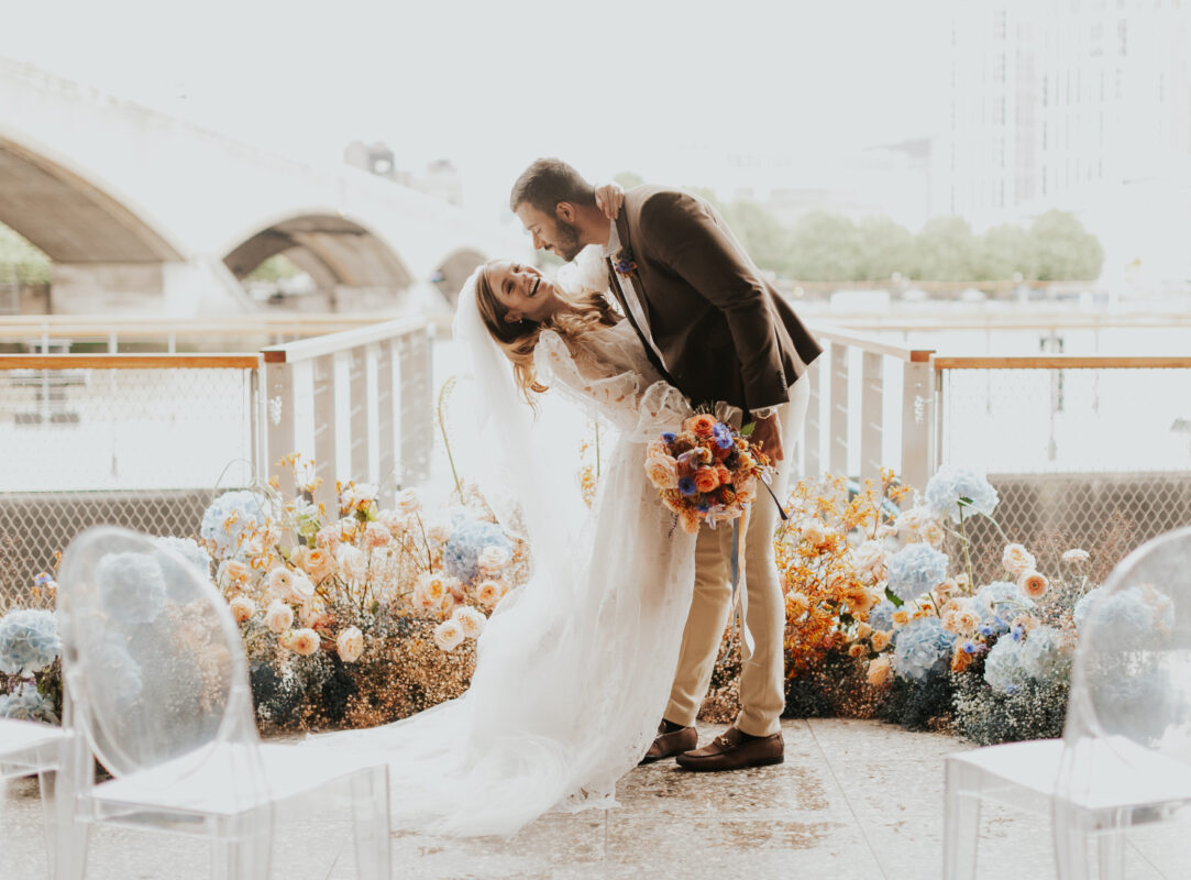 London Thames Wedding - toffee and blue flowers, bride and groom