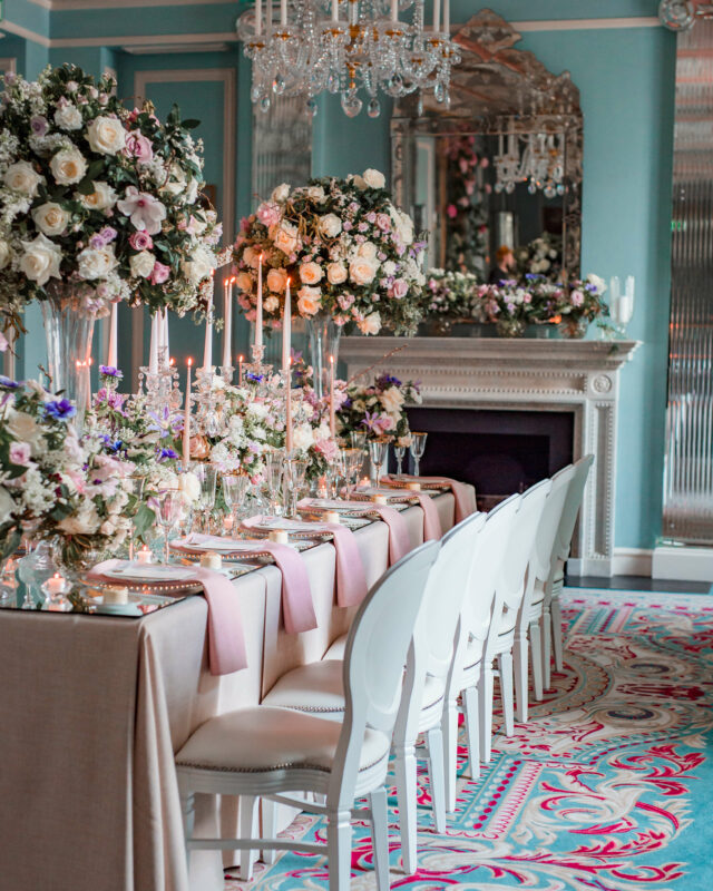 Luxury London Wedding Florist, Lavish wedding flowers table set-up at Lanesborough Hotel in London