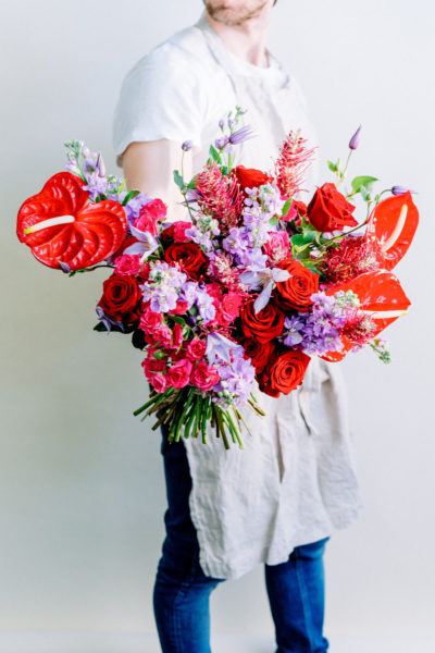M is for Moder Bouquet with anthuriums and roses by Blooming Haus