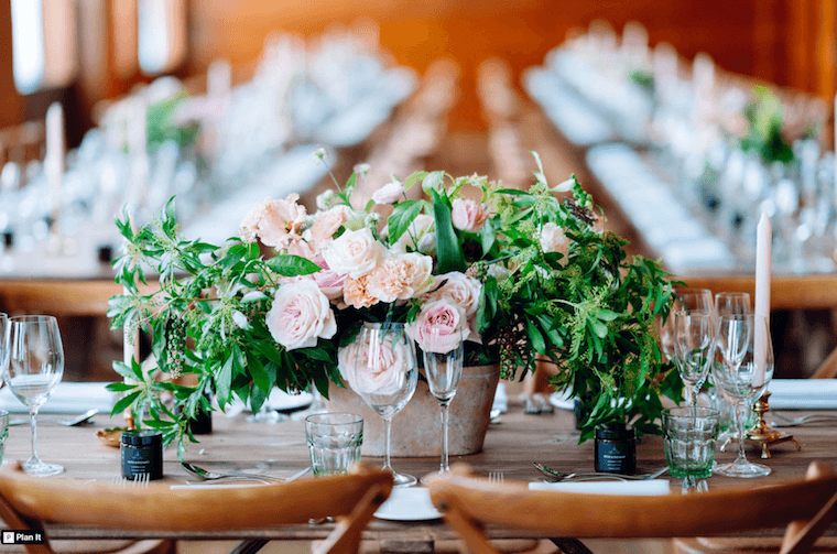 micro wedding pink and peach rose table arrangements