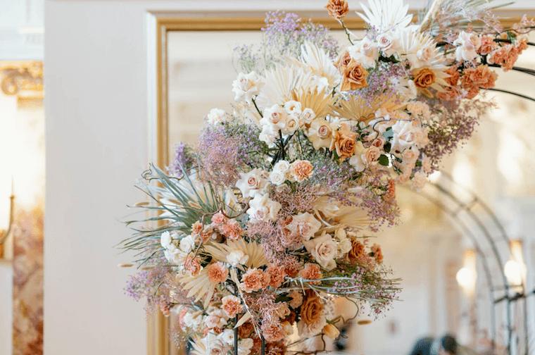 micro wedding pink lilac and peach wedding arch