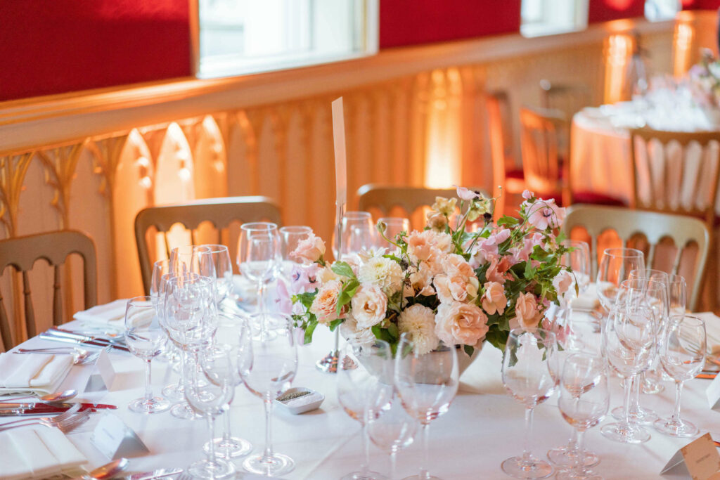micro wedding strawberry hill house table flower centrepieces