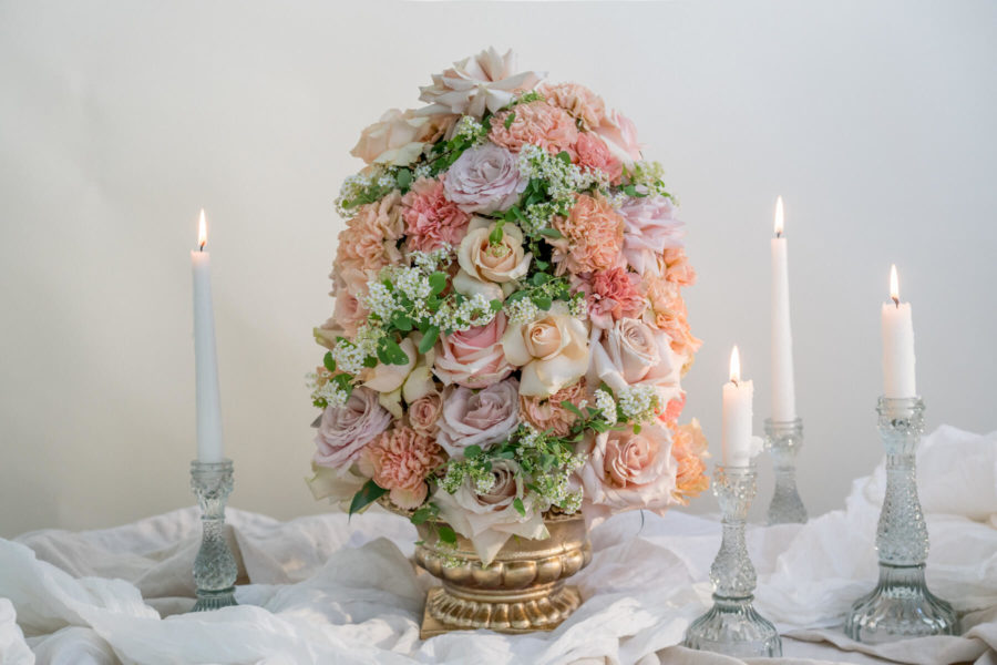 Peach and cream floral arrangement
