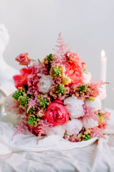 Pink peony bouquet by Blooming Haus