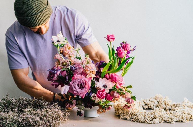 purple flower arrangement by london florist