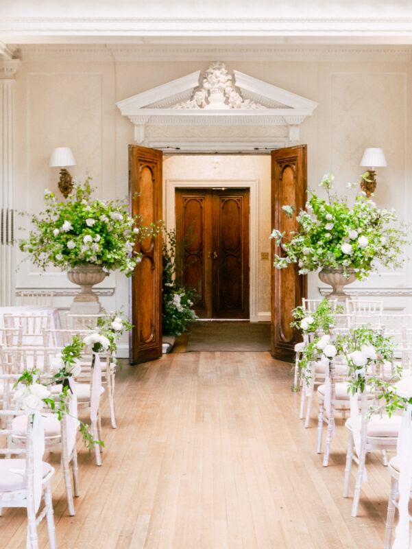 Two large arrangements at Hedsor House