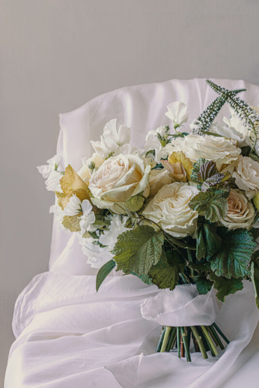 Wedding Bouquet with antique roses and sweet peas