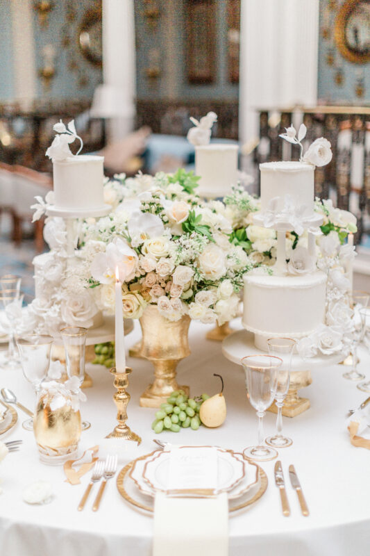 White Wedding Centrepieces of roses and orchids at The Lanesborough Hotel in London